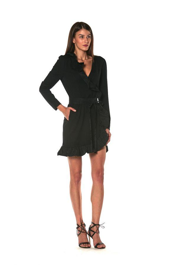 skirt short dress long sleeve CANNES BLACK 1 LETWINS side