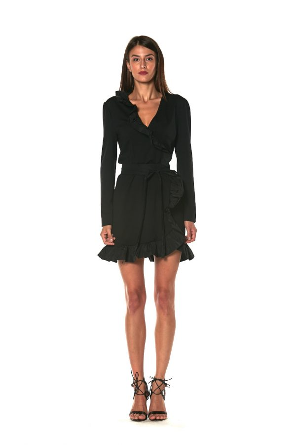 skirt short dress long sleeve CANNES BLACK 2 LETWINS front
