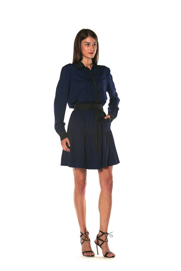 Short skirt long sleeve dress CHICAGO BLU 1 LETWINS side