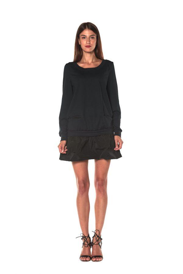 short dress long sleeve FIRENZE BLACK 2 LETWINS front