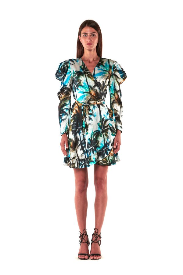vestito corto fantasia palme