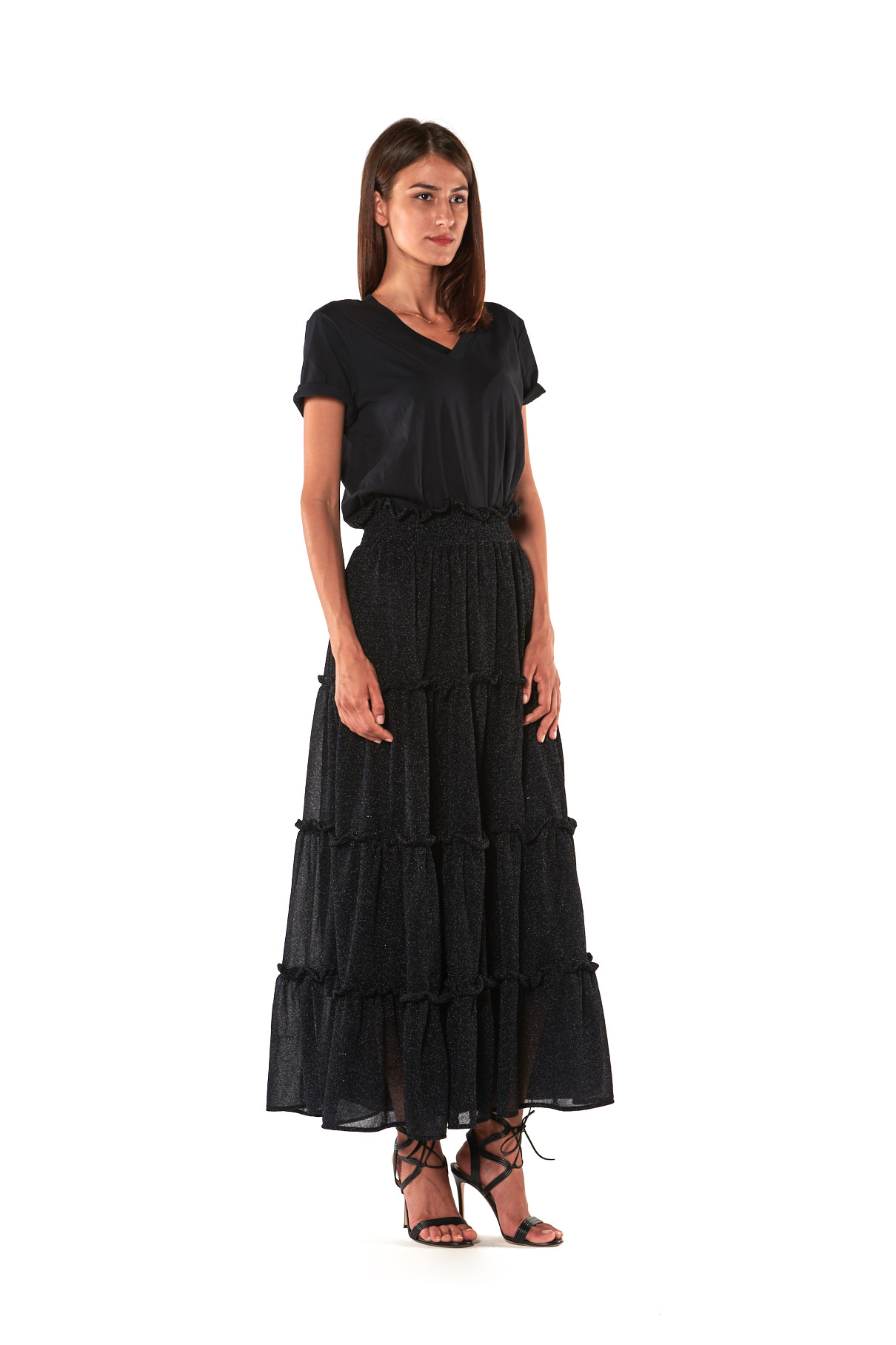 abito gonna lunga nero