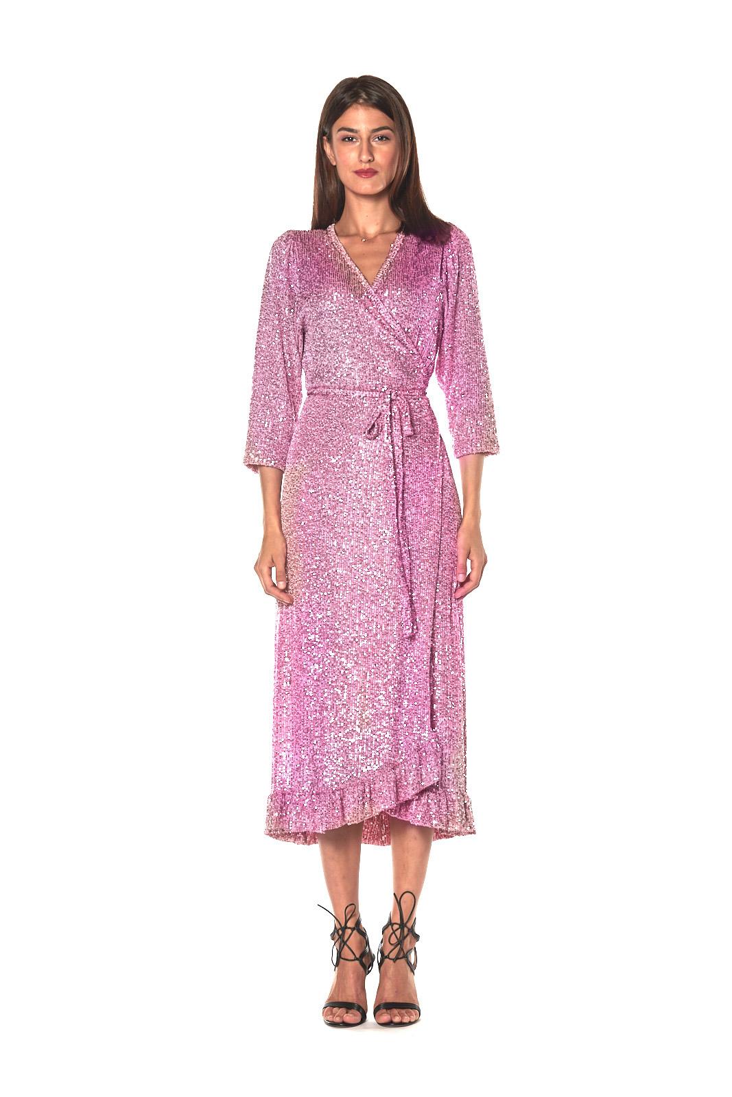 Barbara lilac sequined maxi evening dress