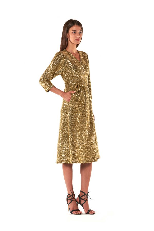 Gold sequined maxi dress ILARY