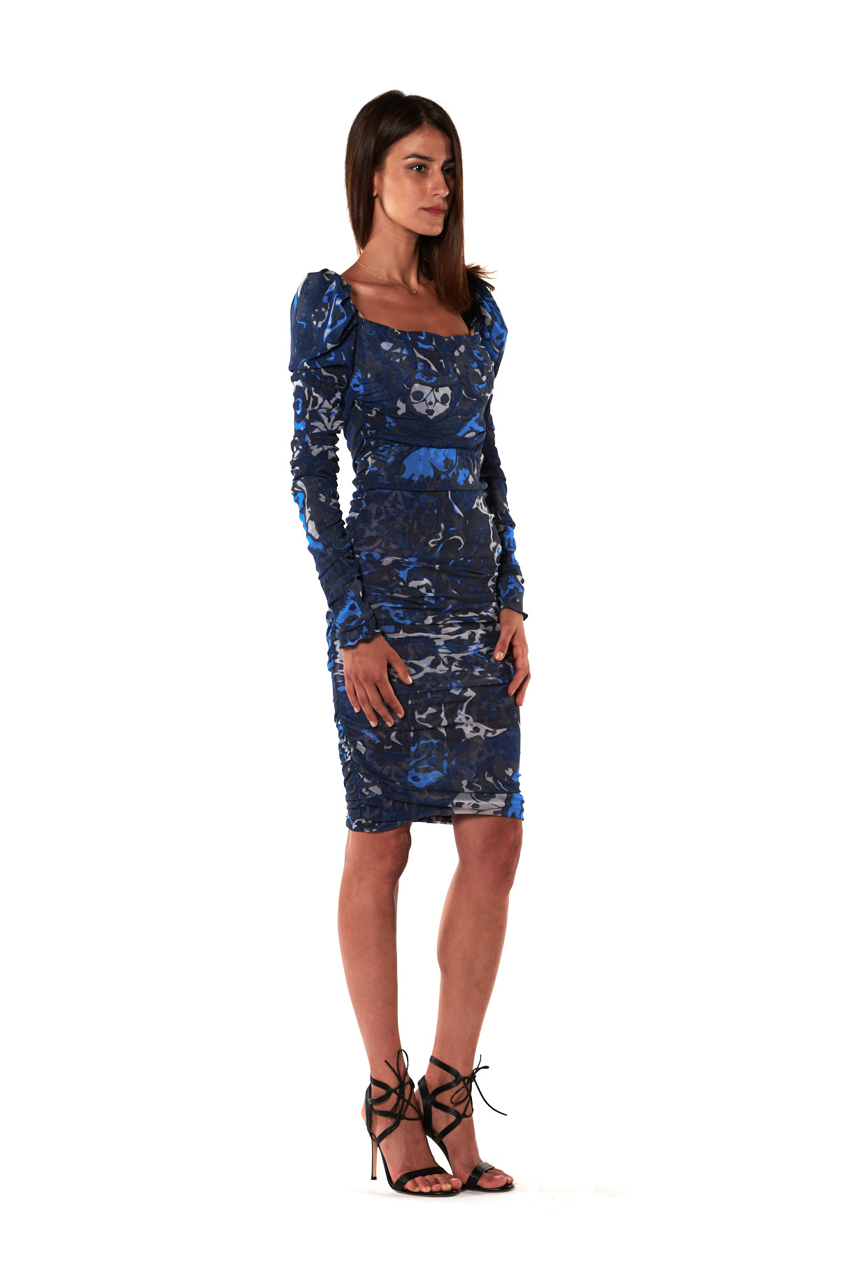 Blue print tulle sheath dress