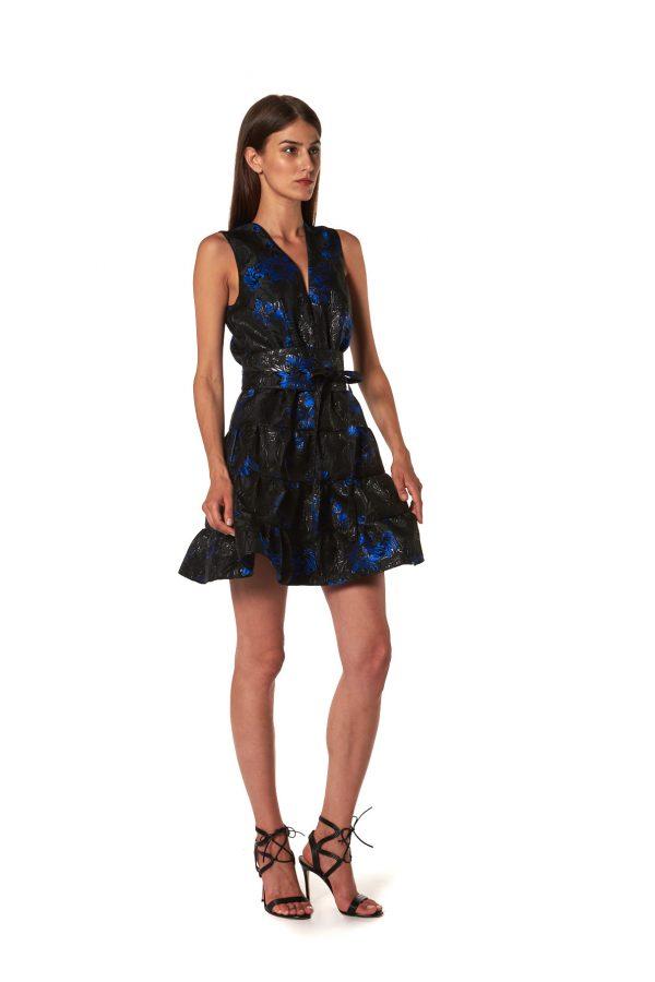 Sleeveless blue and black print short dress