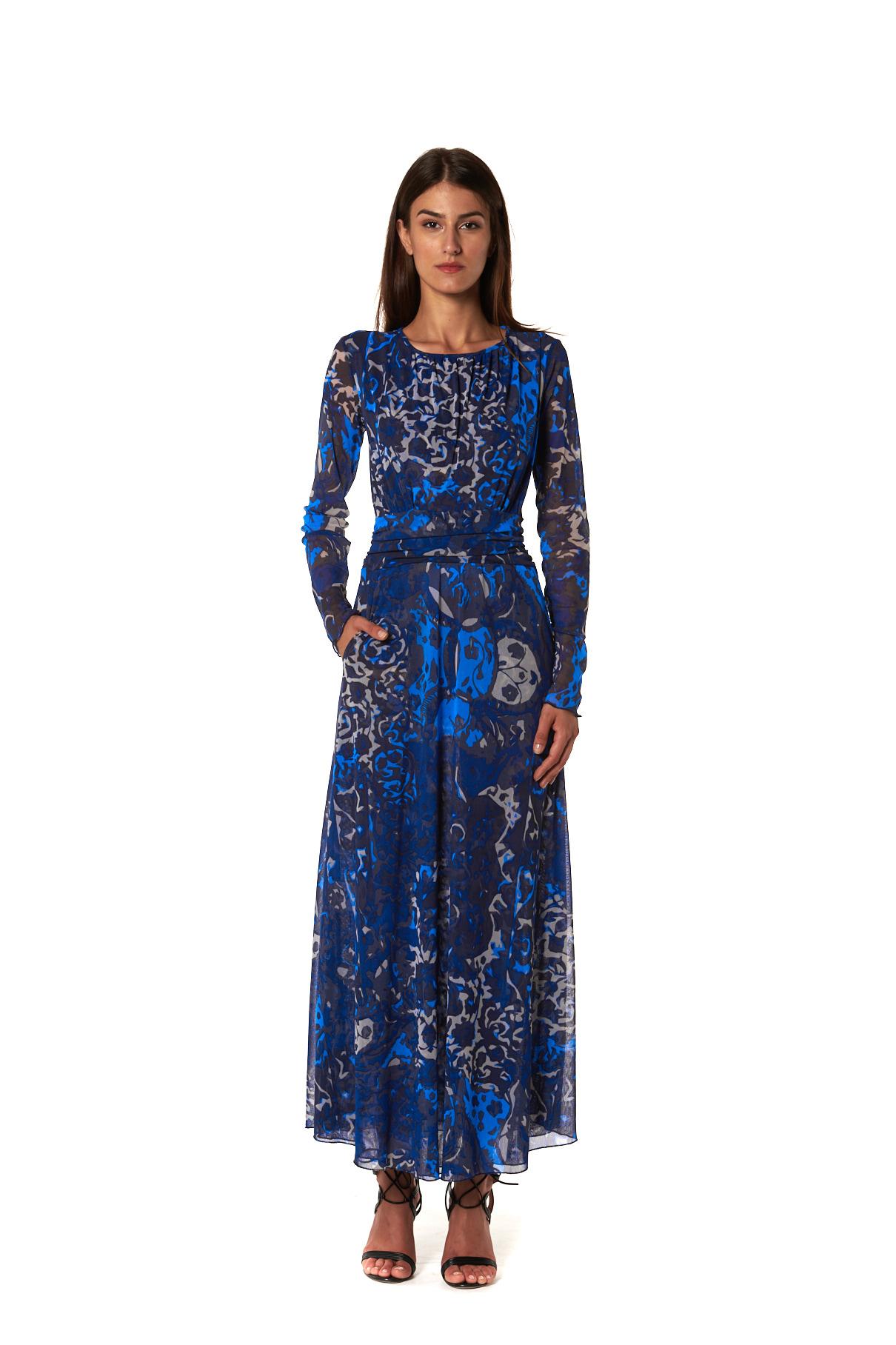 Maria Tulle Blu vestito lungo in fantasia tulle blu