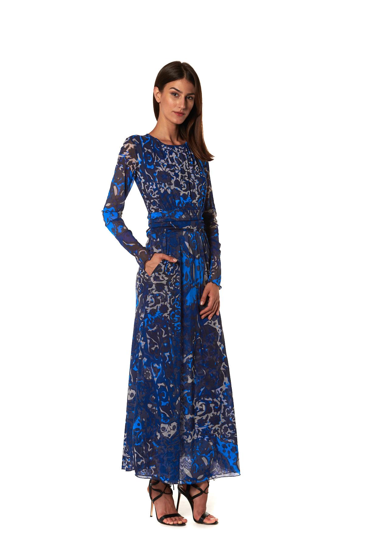 Maria Tulle Blu Lato vestito lungo in fantasia tulle blu
