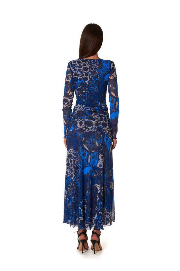 Maria Tulle Blu retro vestito lungo in fantasia tulle blu
