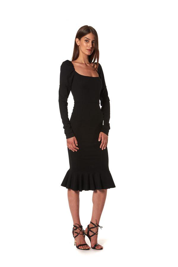 Adjustable black jersey dress