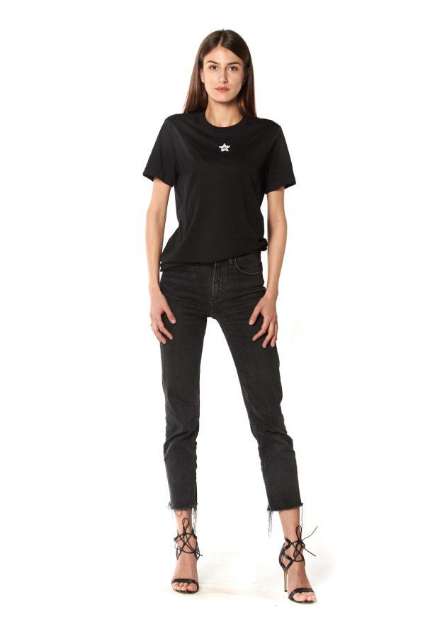 T-Shirt girocollo nera stellina strasse bianco