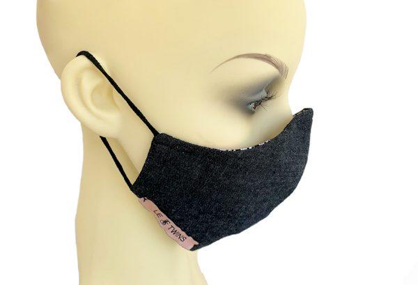 Cotton Filter Holder Mask Black Denim - side