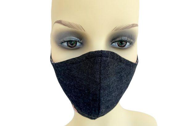 Cotton Filter Holder Mask Black Denim - front