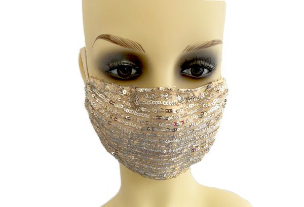 Pink sequin Filter Holder Mask Le Twins - front