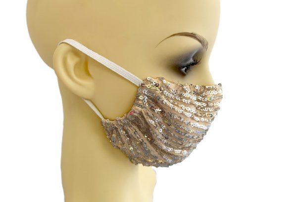 Pink sequin Filter Holder Mask Le Twins - side