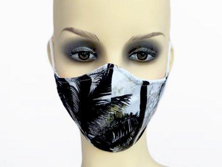 Black Palm Tree Viscose Filter Holder Mask front