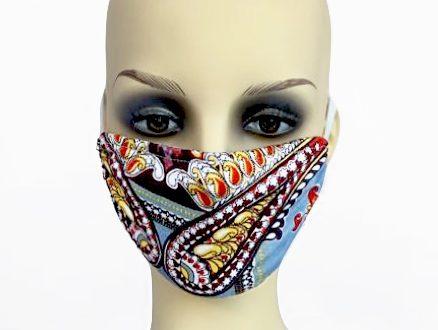 Sky Blue Print Jersey Filter Holder Mask front