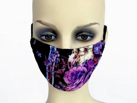 Square Floral Print Jersey Filter Holder Mask front