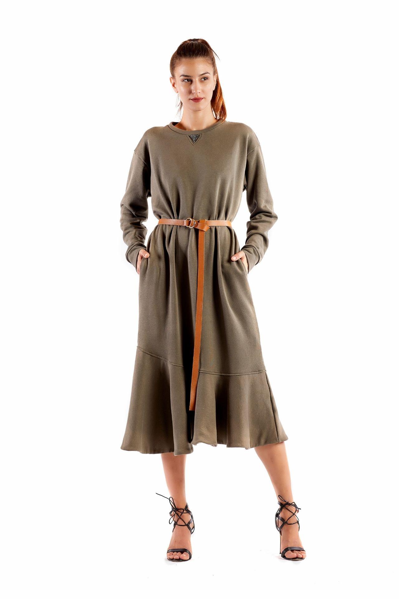 Rossella green fleece dress and belt