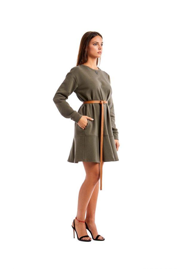 Chiara green short dress belt