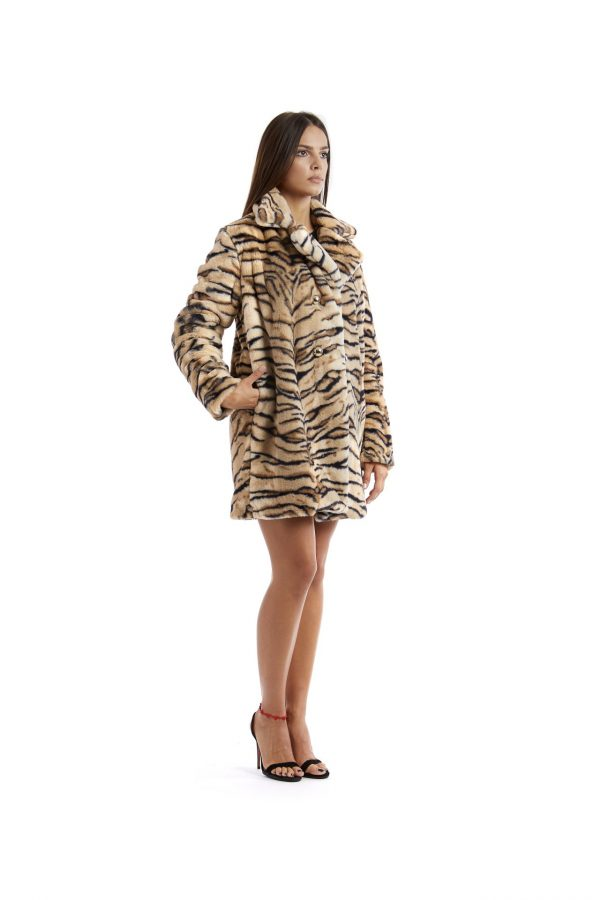 Cappottino doppiopetto Greta zebrato beige e nero lato