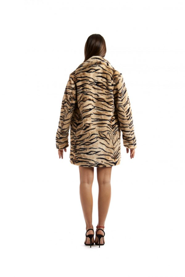 Cappottino doppiopetto Greta zebrato beige e nero retro