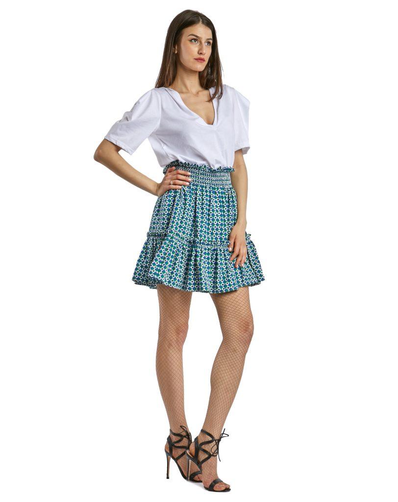 Mykonos green patterned skirt